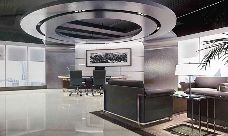 在总经理办公室装修设计的初始阶段,设计师充分考虑总经理的权威性和